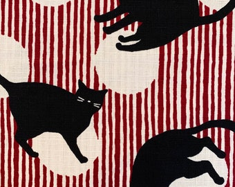 Cat Stripes Cosmo Japanese cotton dobby fabric AP05705-A red white