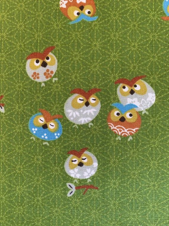 wrapping cloth owl Halloween home decor Japanese eagle owl pillow cover  fabric Japanese owl baby shower Owl in a nest Furoshiki fabric