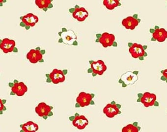 Quilt Gate Hyakka Ryoran Modern Movement 2 collection Camellia in white, red, and gold cotton fabric HR3230-14A