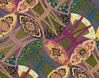 SALE Quilt Gate HR3120-12D Hyakka Ryoran Obi collection in purple and gold cotton fabric