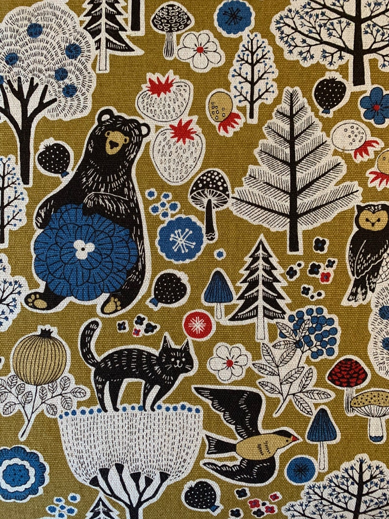 Bear and Forest Friends Cosmo Japanese cotton linen canvas fabric AP81303-2B mustard half yard