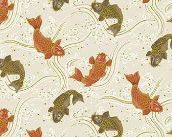 Quilt Gate Hyakka Ryoran KOI fish in cream and gold cotton fabric HR3250-13A