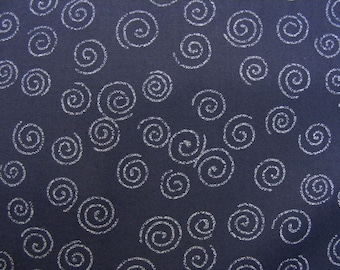 Spiral indigo navy blue gray Cosmo Japanese quilt cotton fabric AP1310-23