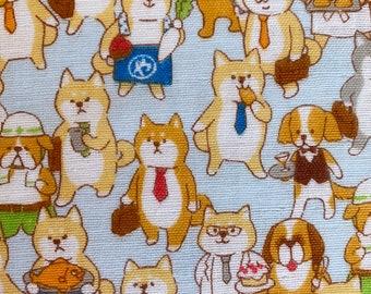 Dog Feed Dog World Japanese double gauze cotton fabric Cosmo AP11403-2C gray half yard