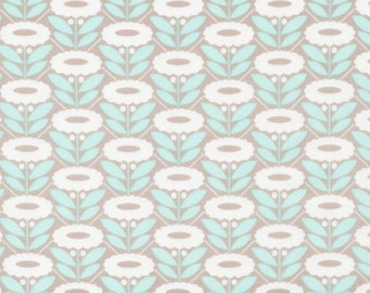 Lazy Daisy turquoise from Cloud9 Organic Fabrics Morning Song Collection by Elizabeth Olwen