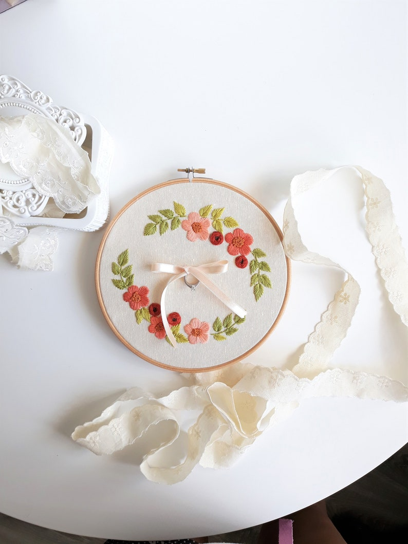 floral embroidered flowers Customizable embroidery art for making a ring bearer or a personalized gift
