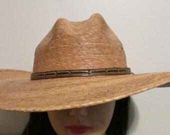 Ranger Hat Genuine Palm Leaf Cowboy Size 7 1 8 cb100eb72c0