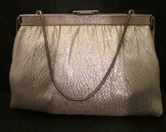 Ande Purse Gold Leme Evening Clutch with Chain True Vintage 70ac3da536803