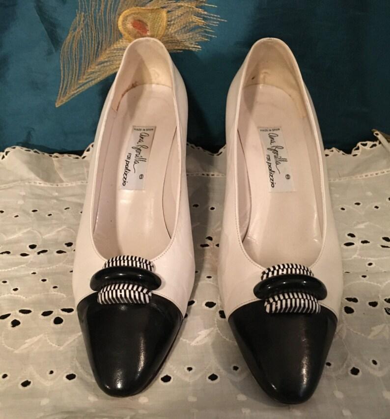 fab580fbea359 1960's Palizzio Designer Heels Shoes Black White Pumps True Vintage 9M