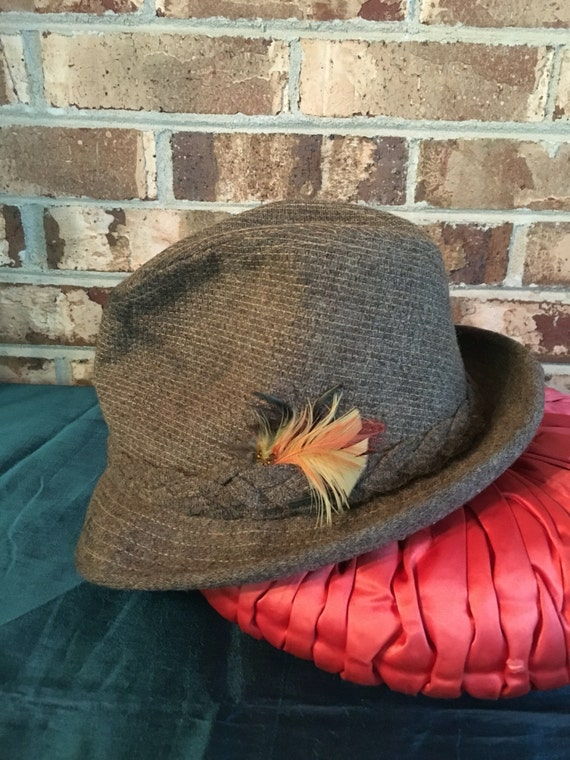 Stetson Fedora Hat Brown Wool Braided Band Feather Size 6 7 8  03925dee35a
