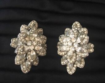 Rhinestone Clip On Earrings Flowers Silver Tone Wedding Hollywood True Vintage