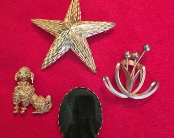 Brooch Lot Star Floral Poodle BSK True Vintage
