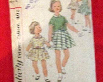 Simplicity Sewing Pattern 2865 Girls Dress and Overblouse Size 6 True Vintage