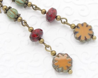Sulphur Yellow, Red and Turquoise Glass Earrings with Flower in The Boho Style