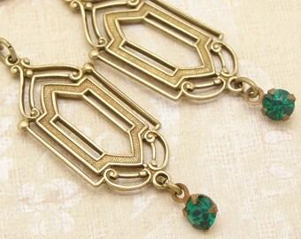 Art Deco Earrings in a Downton Abbey Style with Green Rhinestones