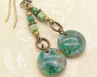 Marbled Green Disc Earrings in the Boho Jewelry Dangle Style