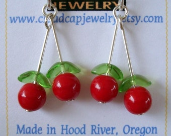 Cherry Earrings with Dangly Sterling Silver and Glass Cherries