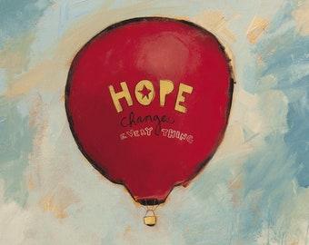 "JDRF (Type 1 Diabetes) ""Hope Changes Everything"" - Promise Gala 2016 (Art Print) / T1D / Juvenile Diabetes / Hot Air Balloon / Landscape"