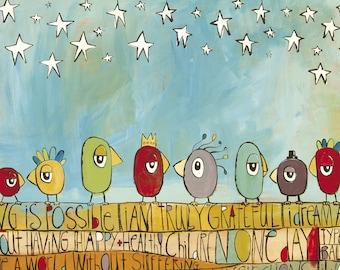 "JDRF (Type 1 Diabetes) ""Under the Stars"" - Promise Gala 2018 (Art Print) / T1D / Juvenile Diabetes Research Foundation / Birds / Stars"