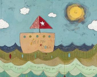 "JDRF (Type 1 Diabetes) ""Hope"" - Promise Gala 2014 (Art Print) / T1D / Juvenile Diabetes Research Foundation / Sailboat / Ocean / Sunshine"