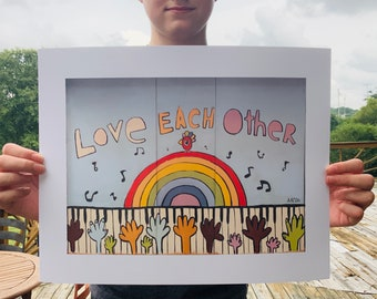 Love Each Other - Fine Art Print by Aaron Grayum / Hope, Love, Empathy, Compassion, Friendship, Uplifting, Together