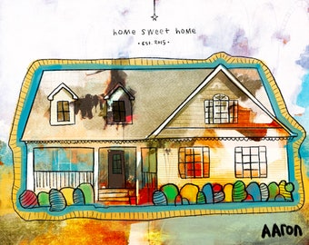 Custom Home Illustration by Aaron Grayum - Real Estate / Home Portrait / Welcome Home / Housewarming Gift
