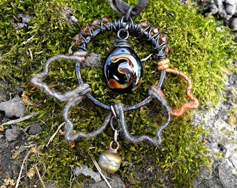 Heady wire wrapped pendant, wool necklace, lampwork necklace, lotus necklace, meditation necklace, gypsy necklace, festival necklace, gift