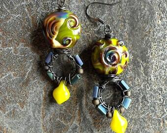 Celestial earrings, lampwork earrings, sun earrings, moon earrings, zodiac earrings, wire wrapped, lampwork glass gift by Genea Crivello