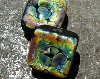 Rustic lampwork bead tiles with shiny pools Rainbow Cavern beads by Genea Crivello of Third Eye Gypsy