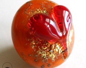 heart cabochon, lampwork cabochon,  glass cabochon, cabochon pendant ,sparkly lampwork, heady glass, for bead weaving, pmc, electroforming