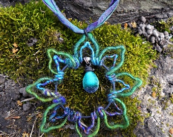 Heady wire wrapped pendant lotus flower yoga necklace with rustic lampwork on sari ribbon by Genea Crivello of Third Eye Gypsy