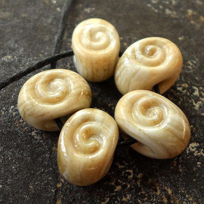 Lampwork beads Honey Cream spiral seed spacers by Genea image 0