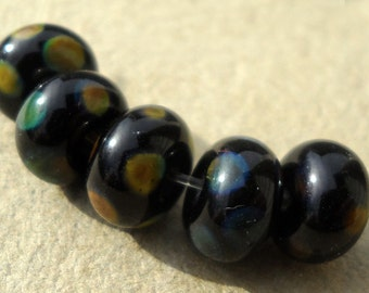 Lampwork glass beads spacer beads in black and raku