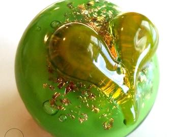 lampwork cabochon, heart cabochon, glass cabochon, cabochon pendant ,sparkly lampwork, heady glass, for bead weaving, pmc, electroforming