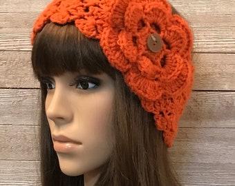 Pumpkin Head Warmer with Flower