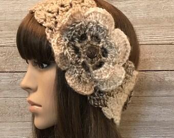 Caramel Tweed Head Warmer with Flower