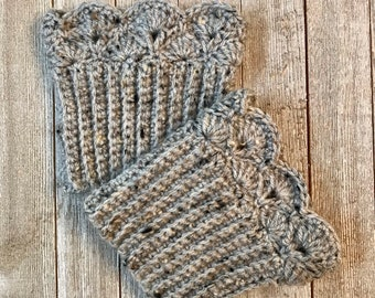 Grey Marble Tweed Boot Cuffs - Calf Fit or Ankle Fit