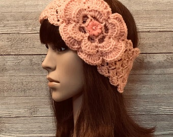 Pink Head Warmer with Flower