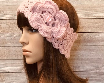 Blush Heather Head Warmer with Flower