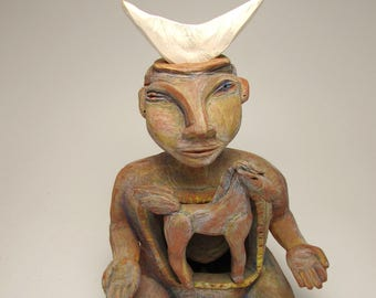 """xxx Reserved for LauraDiane Ceramic Figure, Ceramic Sculpture - """"Starting a New Journey"""""""