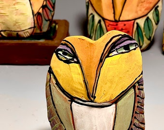 """Owl art, ceramic owl sculpture, whimsical, colorful owl figurine, """"Owl Person Remembering Oneness"""""""
