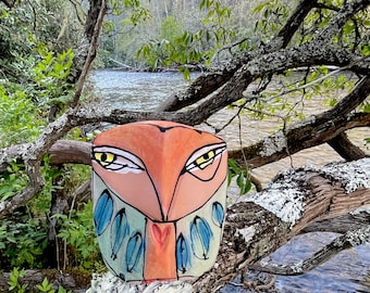 """Owl art, ceramic owl sculpture, whimsical, colorful owl figurine, """"Owl Person Standing Centered"""""""