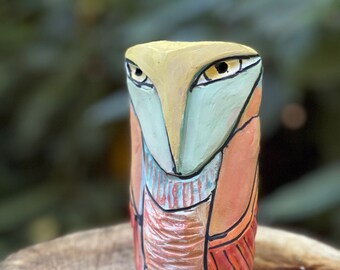 """xxx Reserved Owl art, ceramic owl sculpture, whimsical, owl figurine, """"Owl Person Remembering Sacred Relationship with the Trees""""."""
