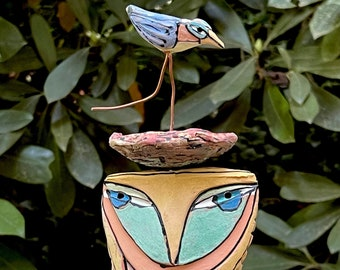 """Owl art, ceramic owl sculpture, whimsical, colorful owl figurine, """"Owl Person and the Dancing Magic Bird"""""""