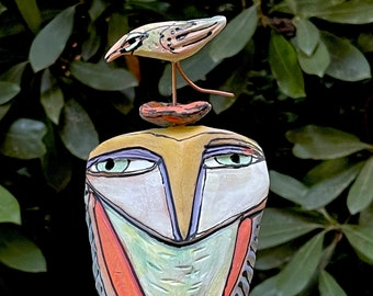 """Owl art, ceramic owl sculpture, whimsical, colorful owl figurine, """"Owl Person and the Happy Bird. Celebration."""""""