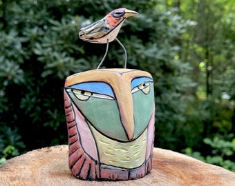 """Owl art, ceramic owl sculpture, whimsical, colorful owl figurine, """"Owl Person and Dancing Bird. All are One""""."""