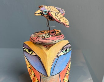 """Owl art, ceramic owl, whimsical, colorful owl figurine, """"Owl Person and the Beauty Birds Living the Dream"""""""
