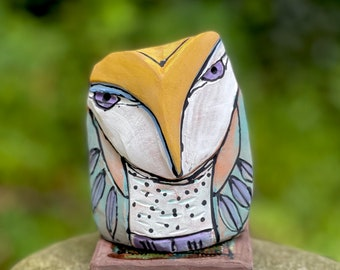 """Owl art, ceramic owl sculpture, whimsical, blue fire studio owl figurine,""""Owl Person Dreaming in the Morning"""""""