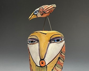 """Owl art, ceramic owl sculpture, whimsical, colorful owl figurine, """"Owl Person Singing to the Dancing Bird"""""""