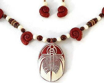 Large Trilobite Necklace and Earrings Set, Hand Sculpted Polymer Clay Art Jewelry